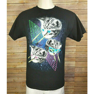 Crazy Laser Eyes Cats Funny Graphic Black Shirt
